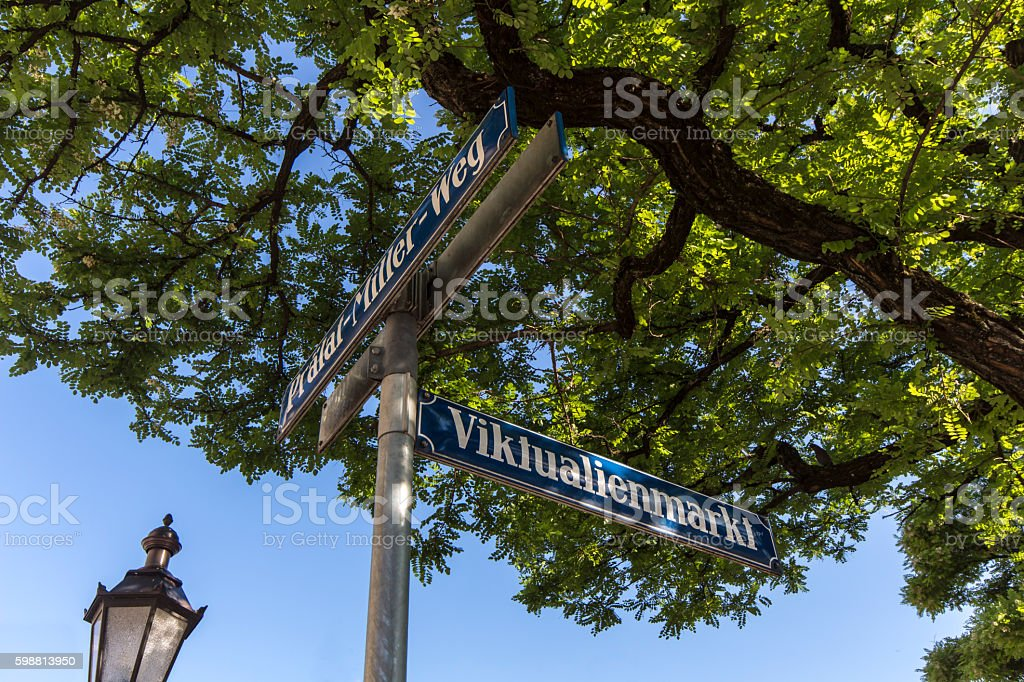 Street sign of Viktualienmarkt in Munich, Bavaria, Germany, 2015 stock photo
