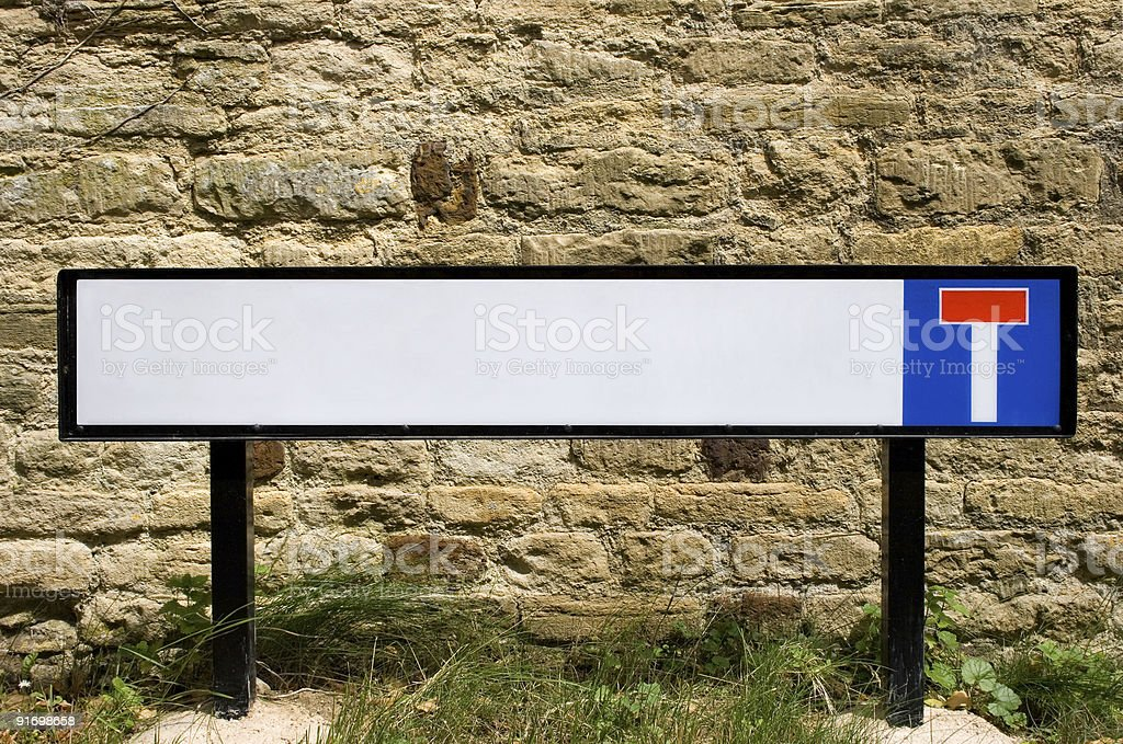UK street sign on a country lane. Dead end. stock photo