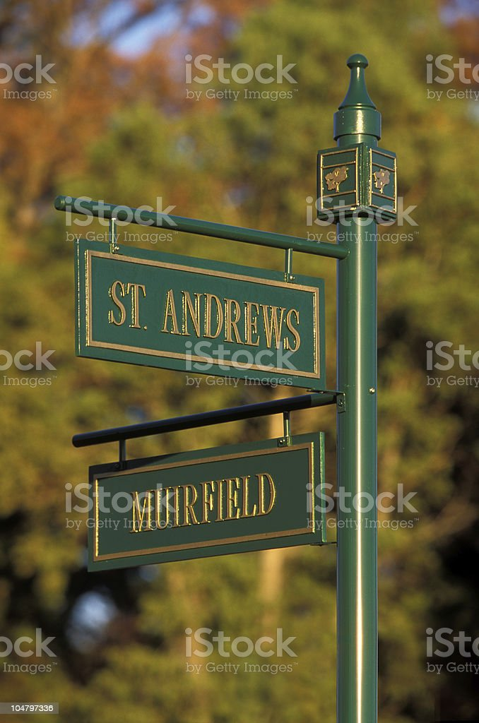 Street sign on golf course royalty-free stock photo