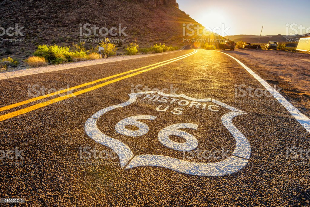 Street sign on historic route 66 in the Mojave desert stock photo