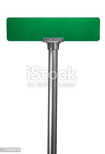 Blank street sign on white with clipping path.