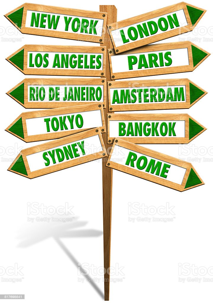 Street sign showing cities stock photo