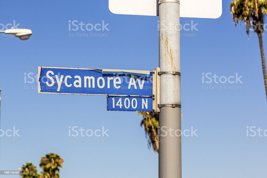 street sign Sycamore Av in Hollywood stock photo