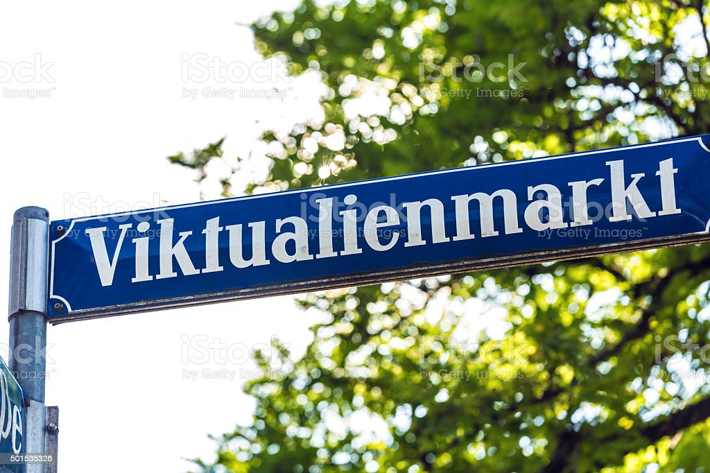 Street Sign Viktualienmarkt in Munich stock photo