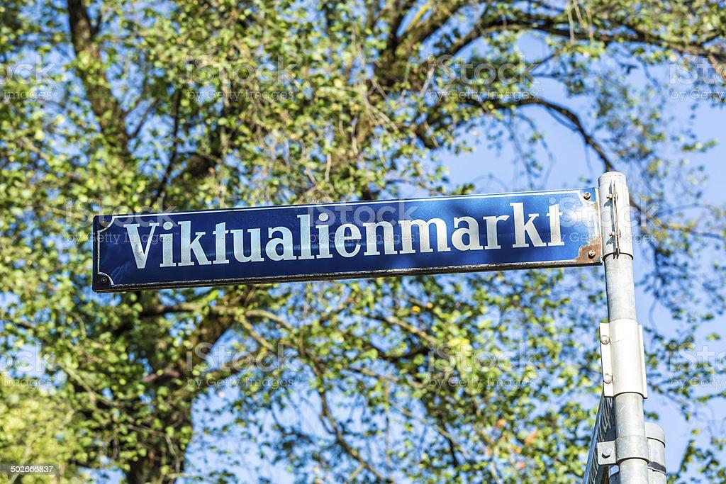 Street sign Viktualienmarkt, Munich stock photo