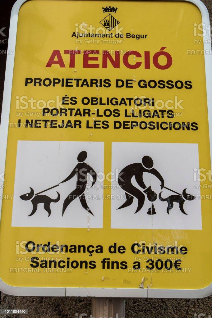 Paseadores de perros de muestra calle ADVERTENCIA - foto de stock