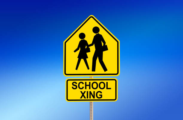 SCHOOL XING Street Sign with Blue Background stock photo