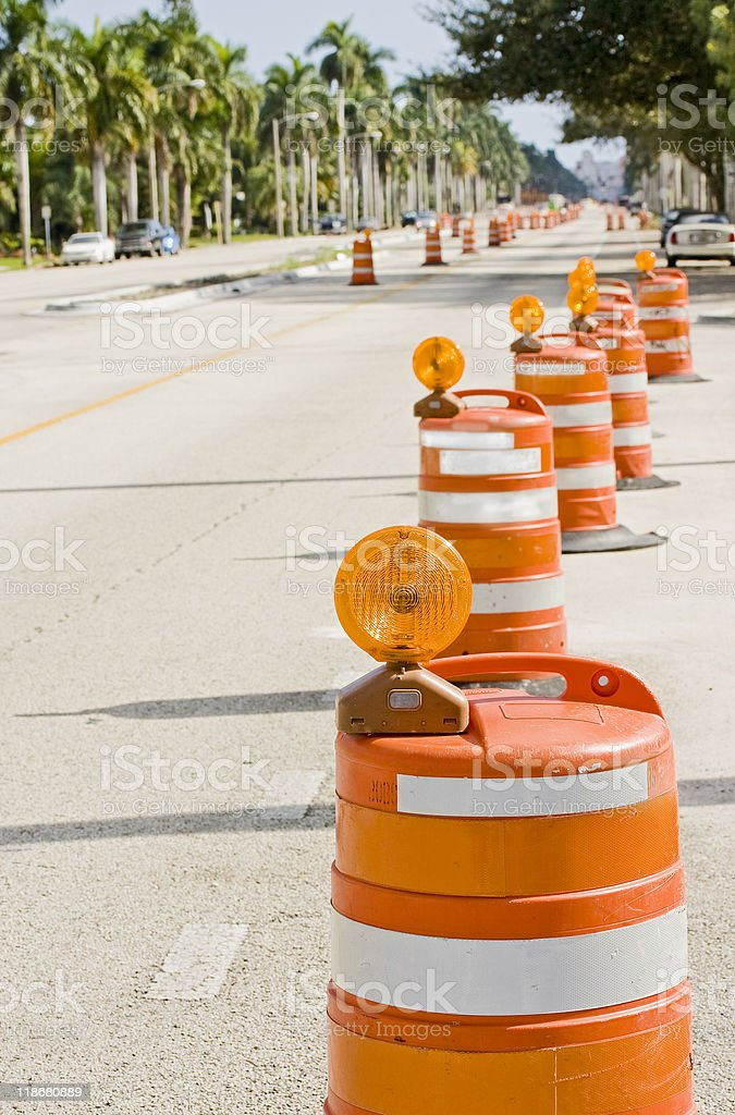 Street signs and barricades at a public construction site stock photo