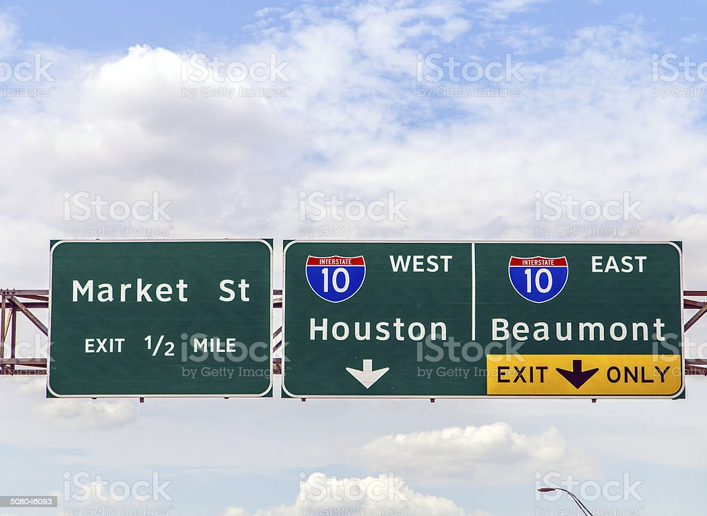 street signs at the interstate in Texas stock photo