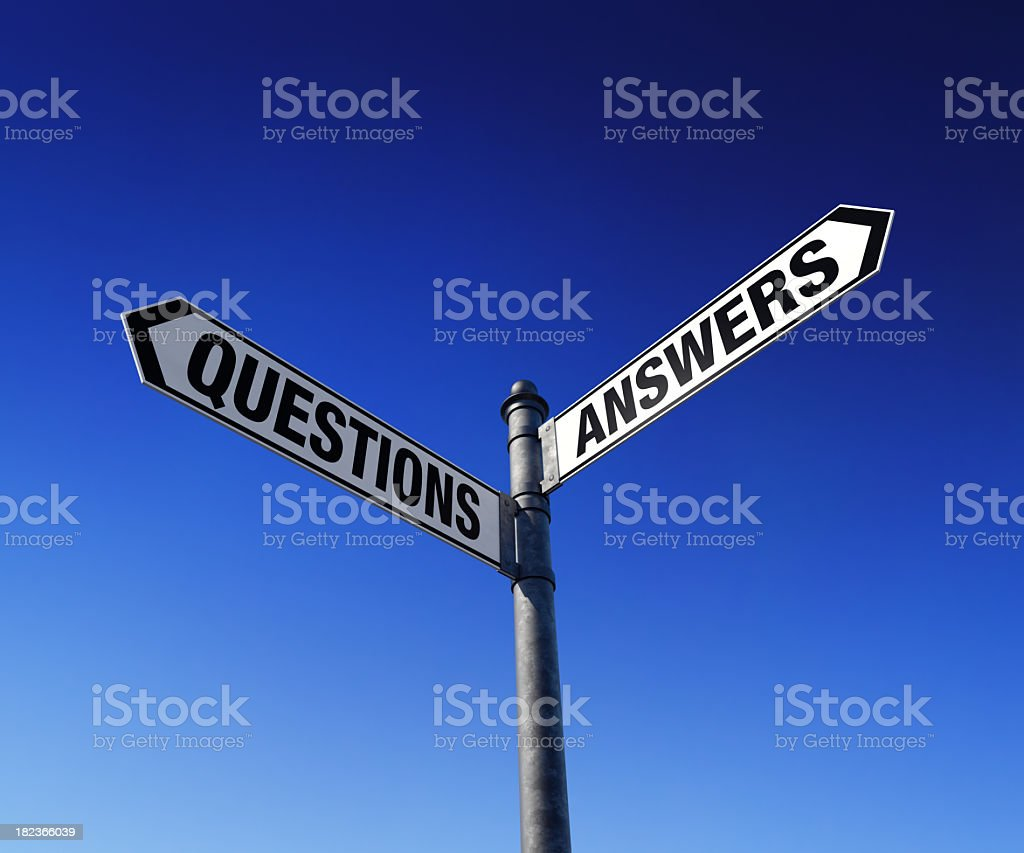 Street signs gesturing to two paths, questions and answers stock photo