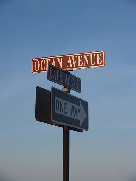 Street Signs Near Beach in Ocean Grove, New Jersey stock photo