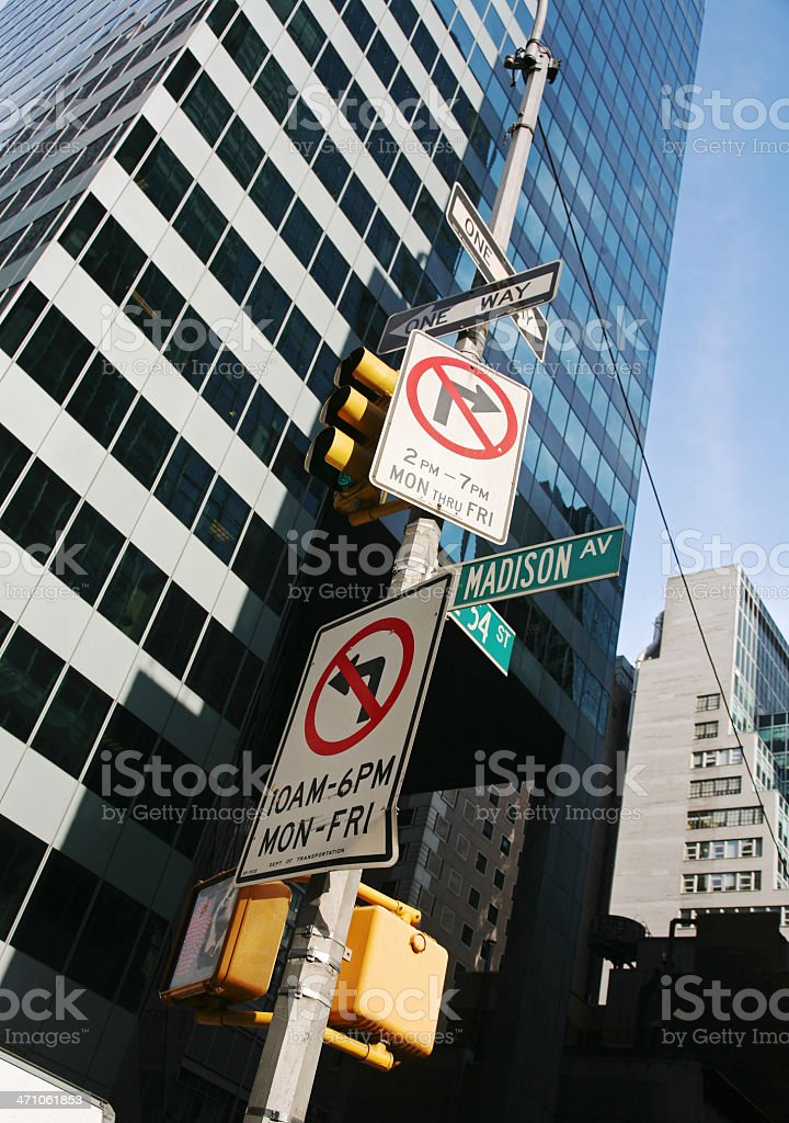 Street Signs On Madison Avenue royalty-free stock photo