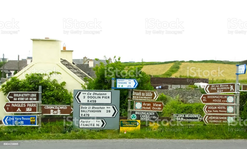 Street Signs Point Several Directions in Ireland stock photo