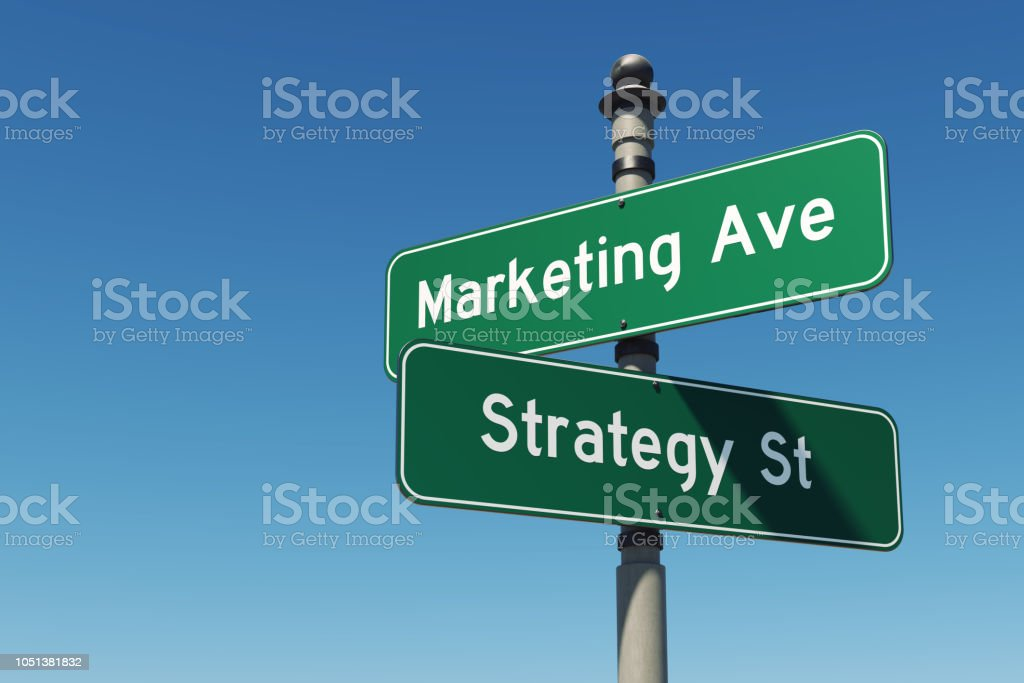 Street signs against clear blue sky pointing Marketing Avenue and...