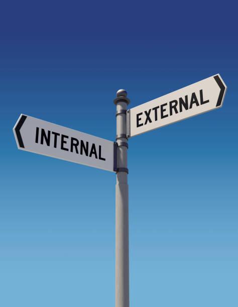 street signs pointing opposite directions: internal or external - wnętrze zdjęcia i obrazy z banku zdjęć