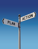 istock Street signs pointing opposite directions: Plan and Action 842760286