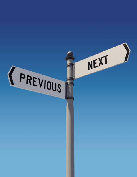 Panneaux de signalisation indiquant les directions opposées: précédente ou suivante - Photo