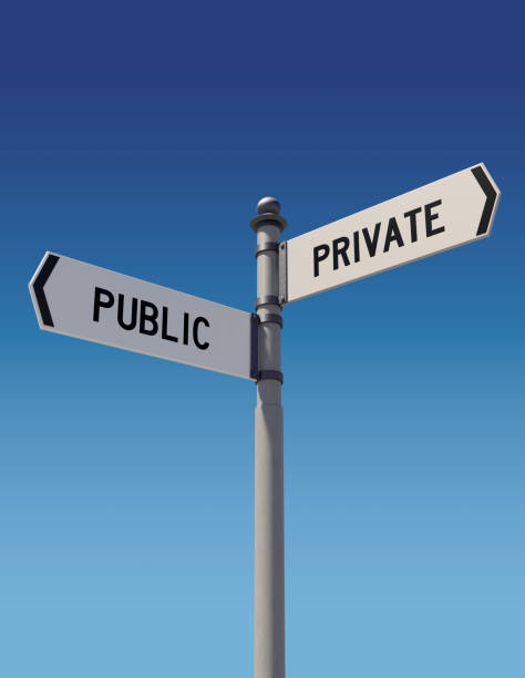 Street signs pointing opposite directions: Public or Private Street signs against clear blue sky pointing opposite directions: Public or Private. Dilemma and choice concept. Vertical composition with copy space. Clipping path is included. military private stock pictures, royalty-free photos & images