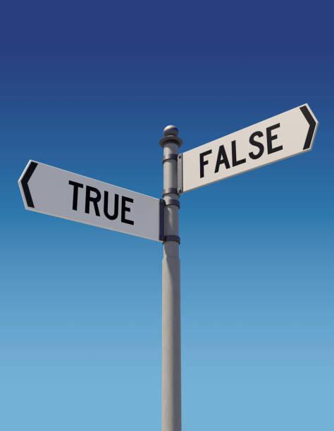 straßenschilder zeigen entgegengesetzte richtungen: true oder false. - wahre lügen stock-fotos und bilder