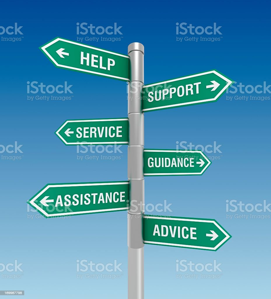 Street signs pointing to help and support issues royalty-free stock photo