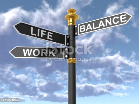 istock Street signs signifying a work life balance 171274866