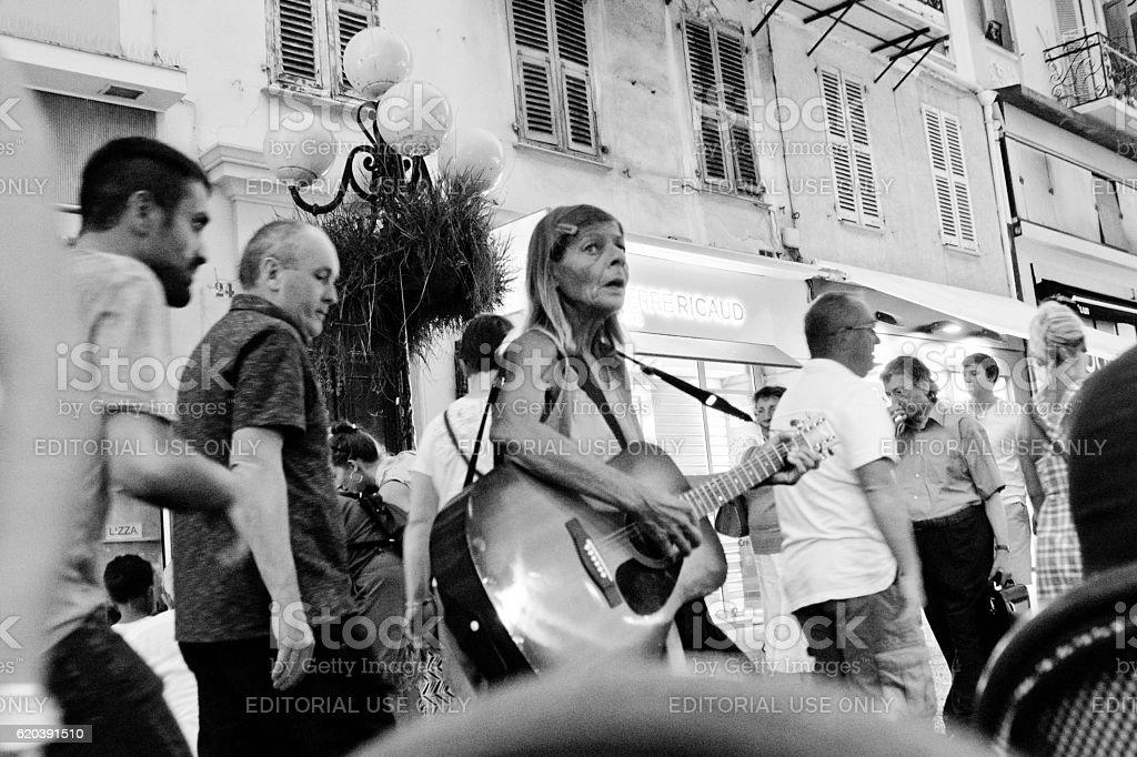 Street singer Nice,France stock photo