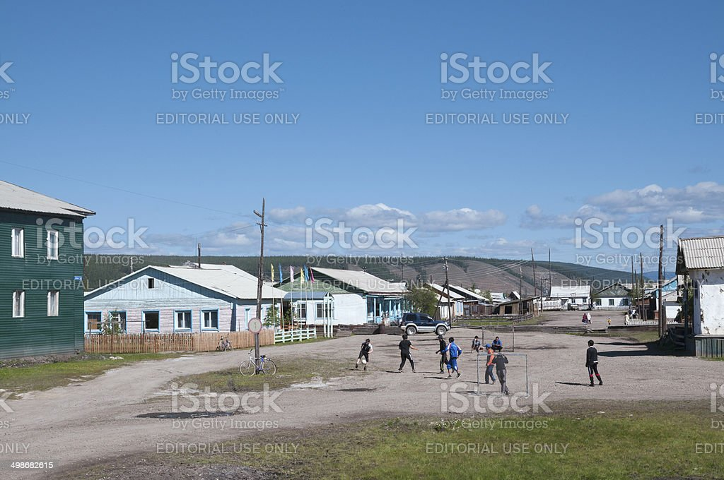 Street soccer in a remote village Tomtor. royalty-free stock photo