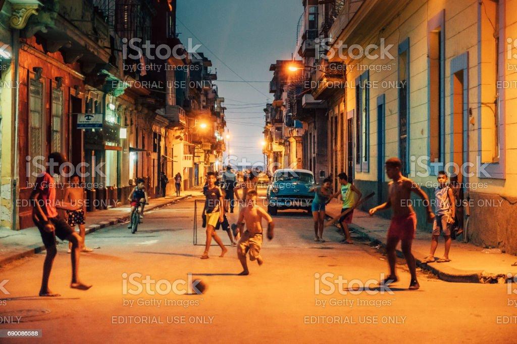 Street Soccer in old Havana, Cuba stock photo