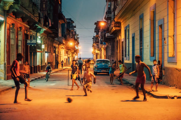 street soccer in old havana, cuba - disinherit stock pictures, royalty-free photos & images