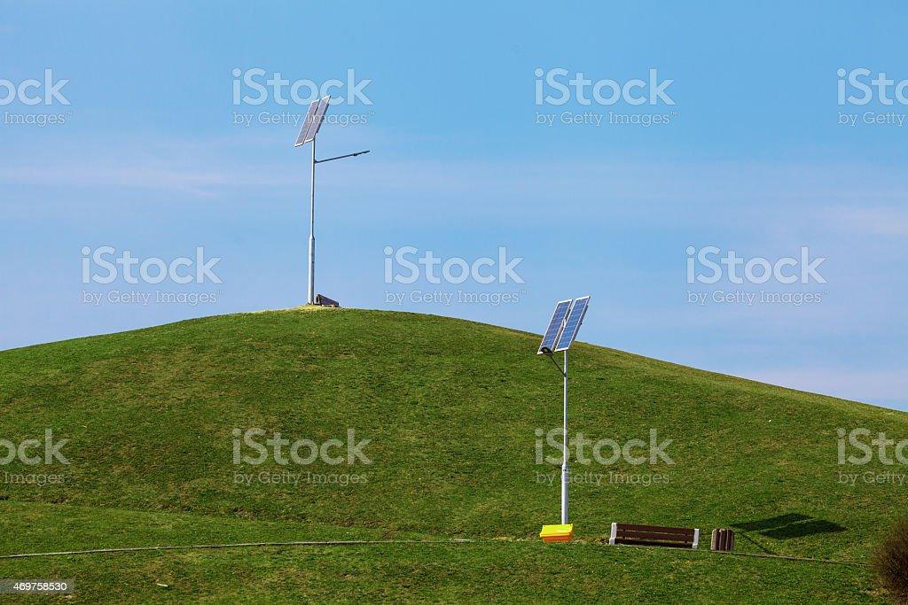 Street solar lamps stock photo