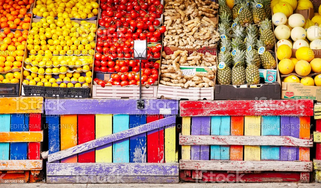 Street stall with fresh fruits and vegetables in Lower Manhattan. stock photo