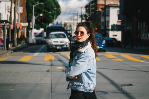 Street style fashion in San Francisco, California stock photo