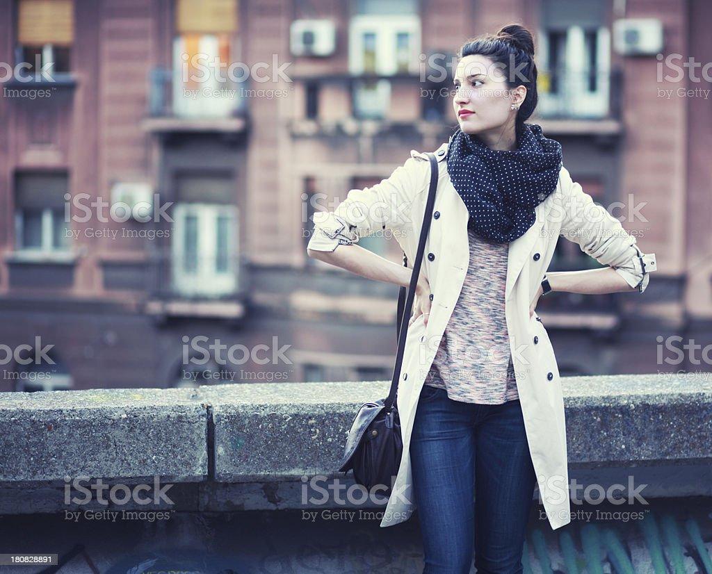 Street style vintage fashion portrait stock photo