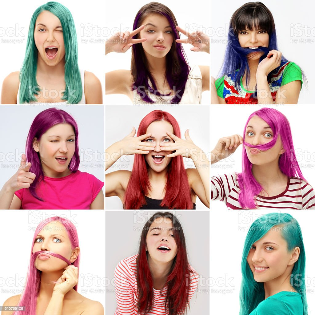 Street style-colored hair stock photo