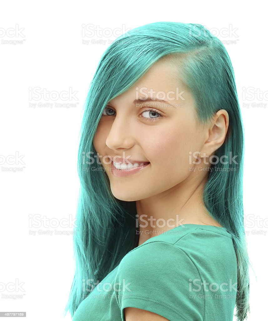 Street style-colored hair.Turquoise royalty-free stock photo