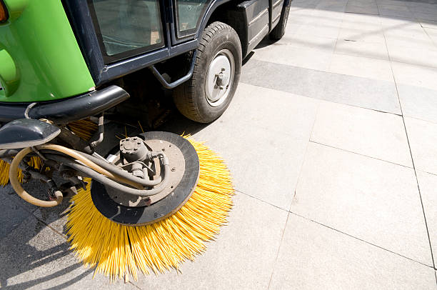 Street Sweeper Street sweeper with copy space. street sweeper stock pictures, royalty-free photos & images