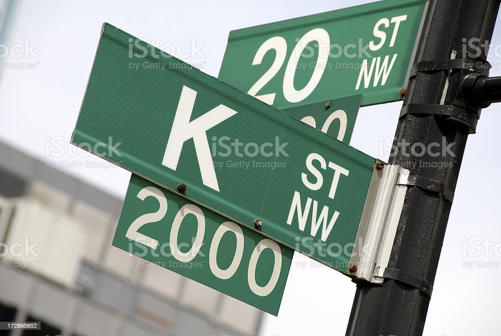 K Street, The Lobbyist Address in Washington DC stock photo