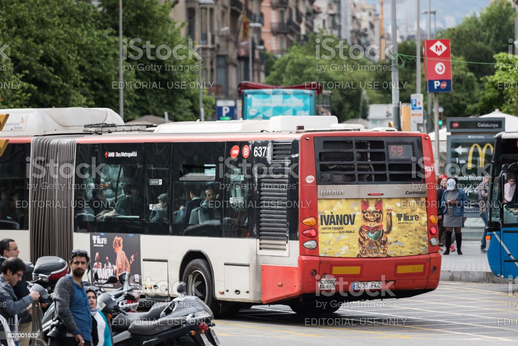 Street traffic at Barcelona town, Spain stock photo