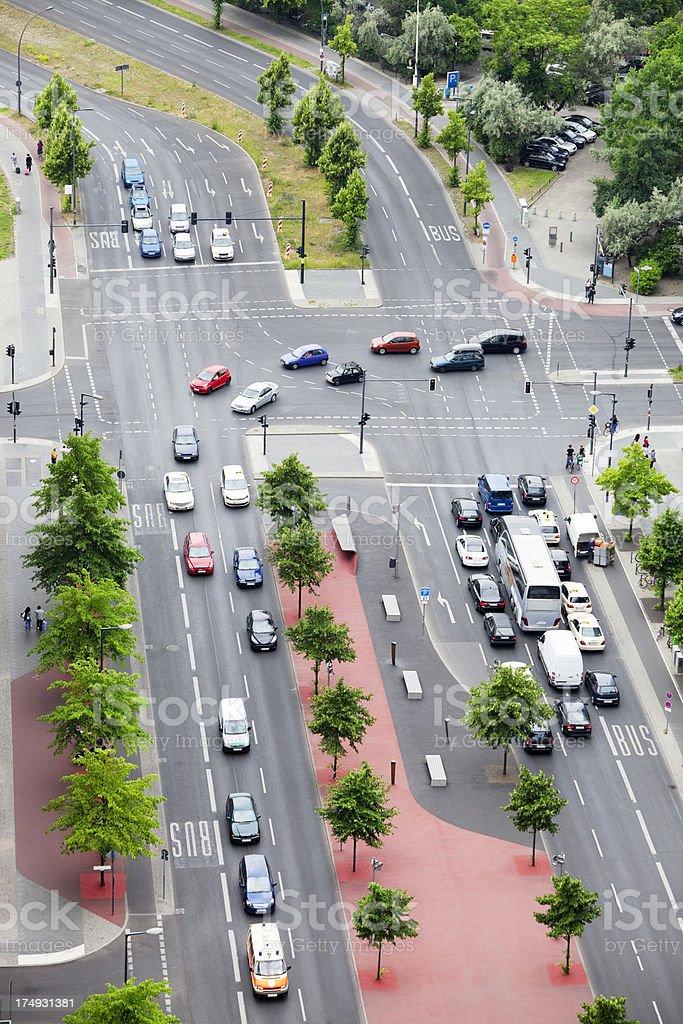 Street Traffic in Berlin, Germany, Aerial View stock photo