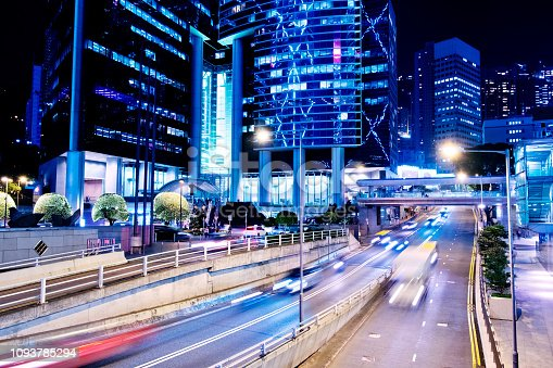 860696690 istock photo Street traffic in Hong Kong at night 1093785294
