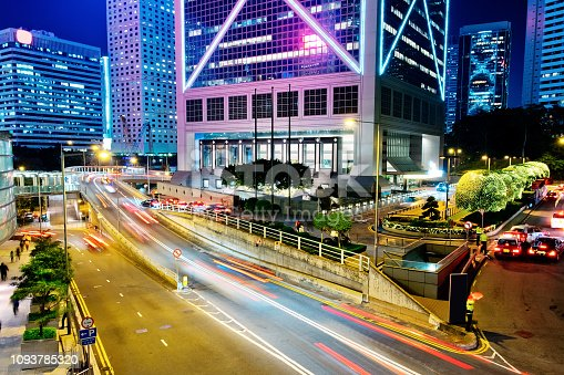 860696690 istock photo Street traffic in Hong Kong at night 1093785320