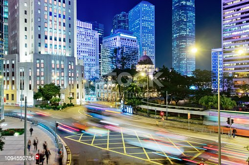 860696690 istock photo Street traffic in Hong Kong at night 1094550784