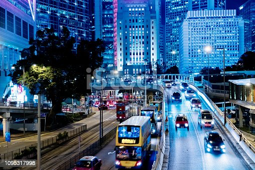 860696690 istock photo Street traffic in Hong Kong at night 1095317998