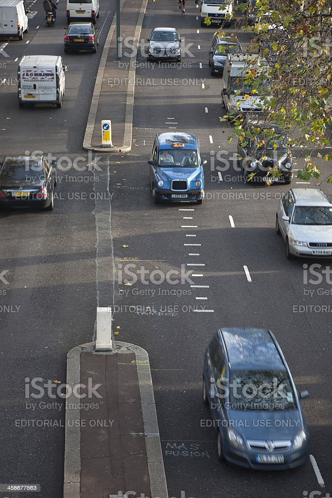 Street Traffic in Victoria Embankment, London, UK royalty-free stock photo