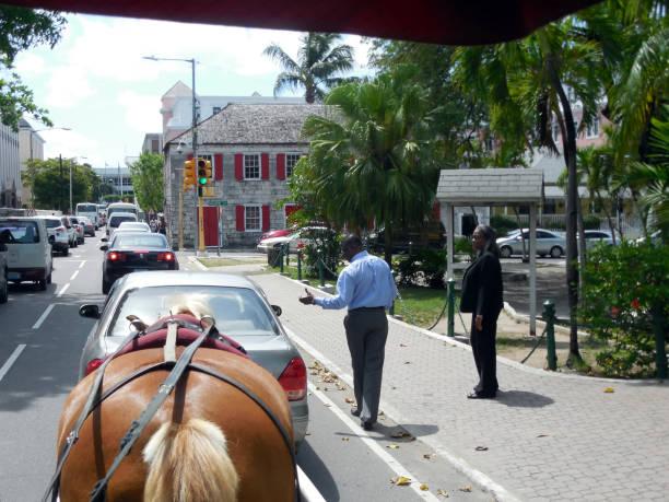 Street Traffic View on Parliament Street in Nassau, Bahamas stock photo