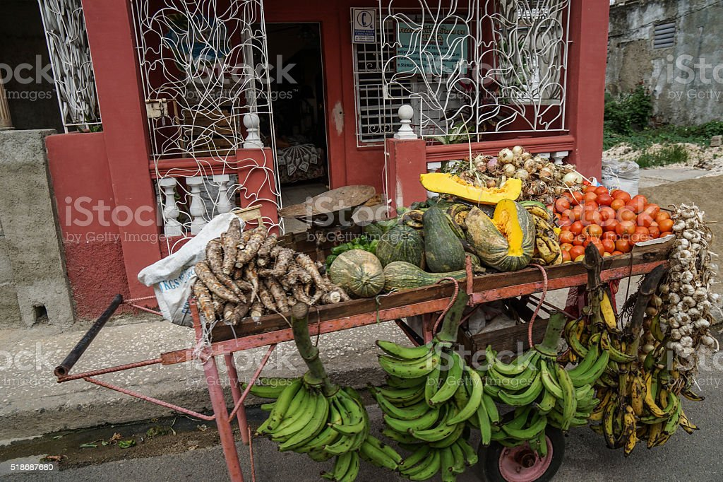 Street trolley with Vegetable and fruit stock photo