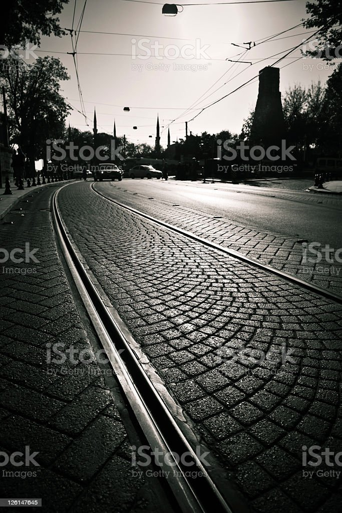 Street Urban Scene in Istanbul City Black And White royalty-free stock photo