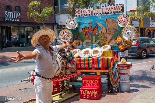 Tijuana, Baja California/Mexico - June 20, 2018:  A street vendor stands with welcoming arms in front of his tourist photo stand with a donkey painted with zebra stripes called a