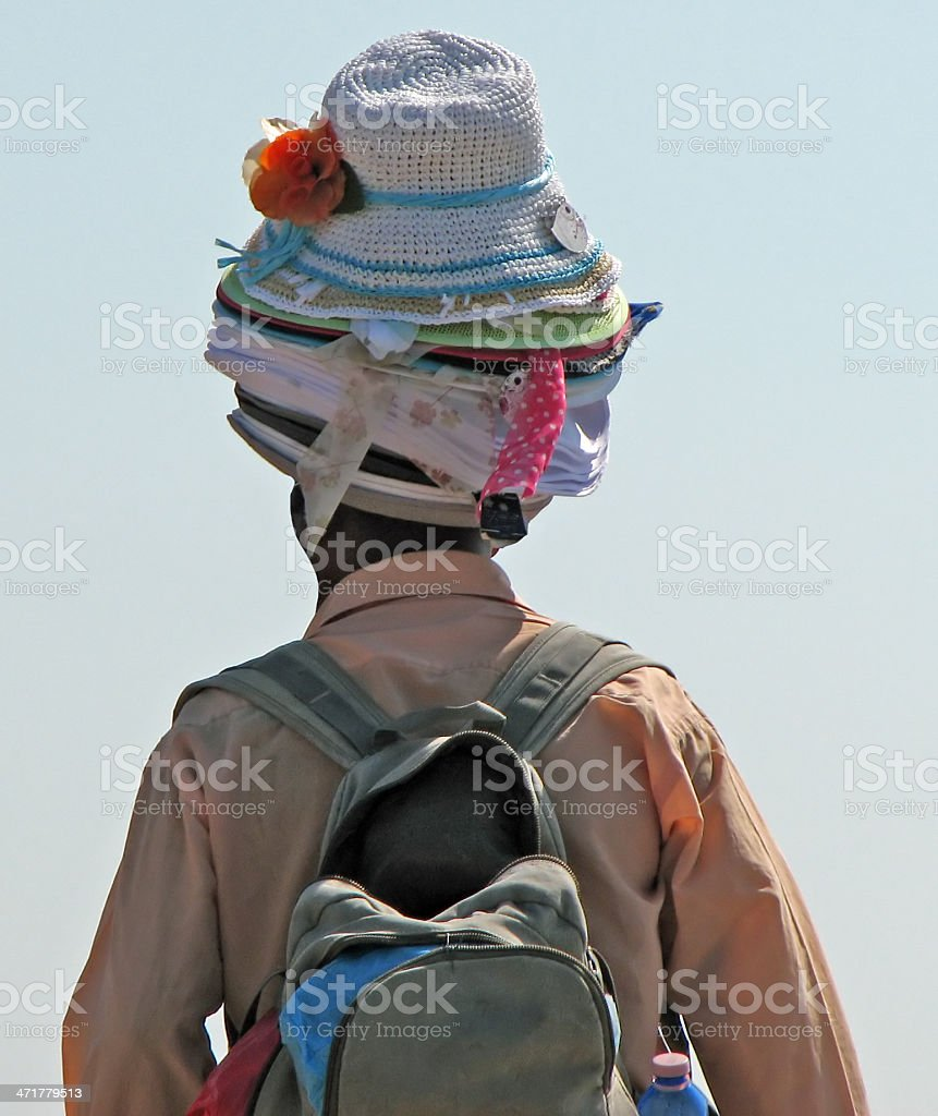 street vendor of hats and accessories along the Adriatic coast stock photo