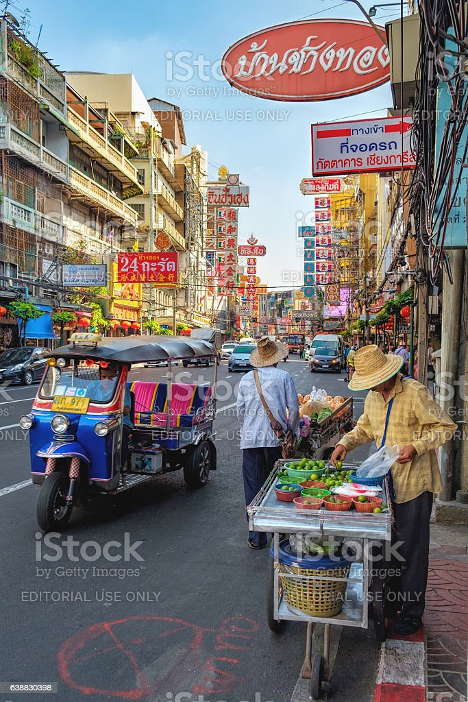 Street vendor of lime in Chinatown, Bangkok, Thailand stock photo